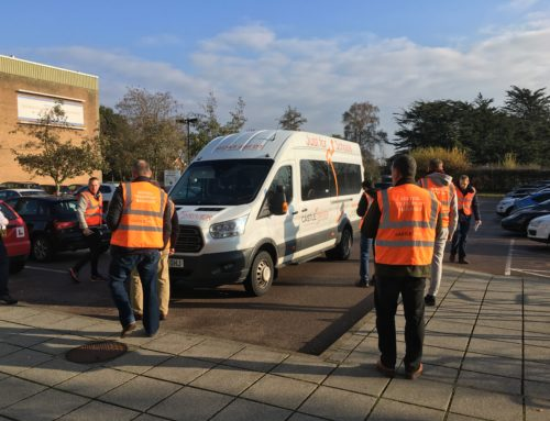 How long should a minibus walk-around check take?