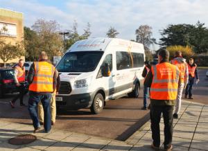 Drivers complete a minibus check