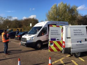 Minibus Compliance with Rivus van displaying equipment for minibus safety inspections