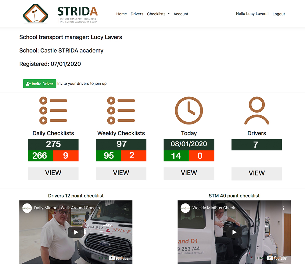 STRIDA dashboard